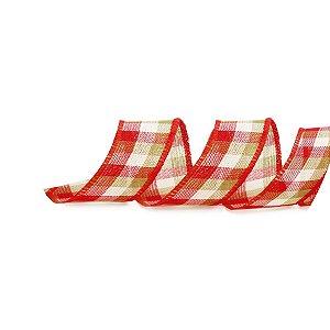 Fita Aramada Xadrez Vermelho Verde e Bege 3,8cm x 9,14m - 01 unidade - Cromus Natal - Rizzo Embalagens