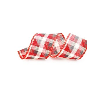 Fita Aramada Xadrez Vermelho Preto e Bege 6,3cm x 9,14m - 01 unidade - Cromus Natal - Rizzo Embalagens