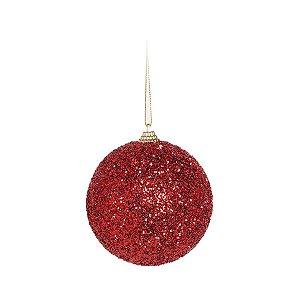 Kit Bola Glitter Vermelha 10cm - 04 unidades - Cromus Natal - Rizzo Embalagens