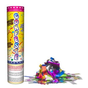 Lança Confete Confeste Laminado Colors Colorido - 20cm -  Mundo Bizarro