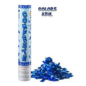 Lança Confete Confeste Laminado Colors Azul - 30 cm -  Mundo Bizarro
