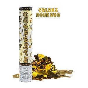 Lança Confete Confeste Laminado Colors Dourada - 30 cm - Mundo Bizarro
