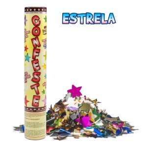 Lança Confete Confeste Laminado Colors Estrelas- 30 cm - Mundo Bizarro