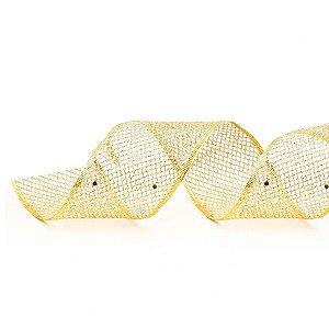 Fita Aramada Tela Ouro 6,3cm x 9,14m - 01 unidade - Cromus Natal - Rizzo Embalagens
