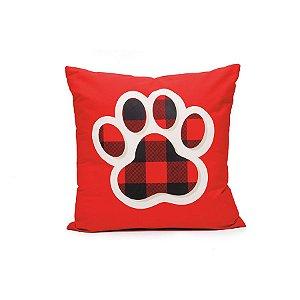 Almofada com Patinha Pet Xadrez Vermelho e Preto 45cm - 01 unidade - Cromus Natal - Rizzo Embalagens