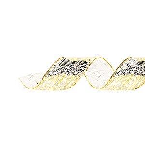 Fita Aramada Voal Pincelada Ouro 3,8cm x 9,14m - 01 unidade - Cromus Natal - Rizzo Embalagens
