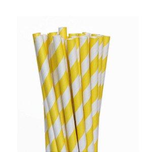 Canudo Biodegradável Listrado Branco e Amarelo - 20 un -  Silver Festas