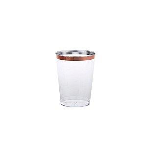 Copo água/refrigerante Borda Rose - 4 un - 300 ml - Silver Festas