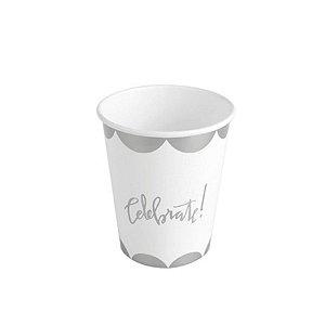 Copo de papel Celebrate Prata Biodegradável - 10 un - 270 ml - Silver Festas