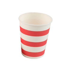Copo papel Listrado Vermelho Biodegradável - 10 un - 270 ml - Silver Festas