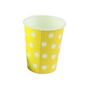 Copo papel Poa Amarelo Biodegradável - 10 un - 270 ml - Silver Festas