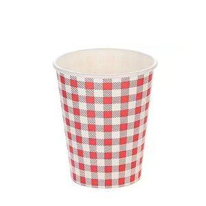 Copo papel Xadrez Junina Vermelho Biodegradável- 10 un - 270 ml - Silver Festas