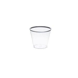 Mini Copo com borda Prateada - 10 un - 30 ml - Silver Festas