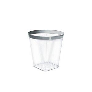 Mini Copo com borda Prateada - 10 un - 60 ml - Silver Festas