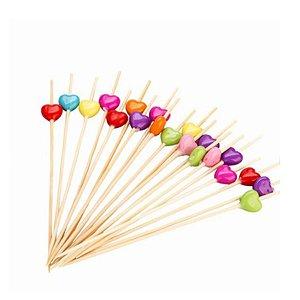 Palito em Bambu p/ petiscos com Corações coloridos - 20 un  - Silver Festas