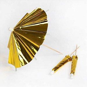 Palito para decoração Guarda Chuva Dourado - 12 un - 10 cm -  Silver Festas