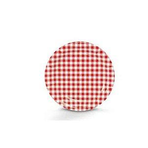 Prato Papel Biodegradável Festa Junina Vermelho - 10 un -  18 cm - Silver Festas