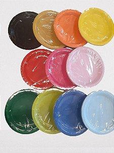 Prato Papel Biodegradável Liso - 10 un -  18 cm - Silver Festas