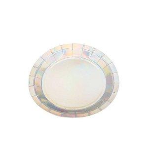 Prato Papel Biodegradável Liso Frutacor - 10 un -  18 cm - Silver Festas