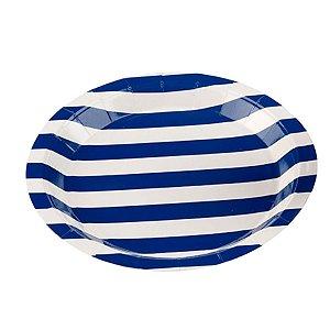 Prato Papel Biodegradável Listrado Azul - 10 un -  18 cm - Silver Festas