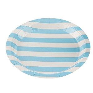 Prato Papel Biodegradável Listrado Azul Bebe - 10 un -  18 cm -Silver Festas