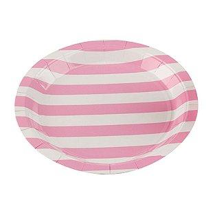 Prato Papel Biodegradável Listrado Rosa Bebe - 10 un -  18 cm - Silver Festas