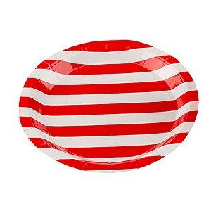 Prato Papel Biodegradável Listrado Vermelho - 10 un -  18 cm -Silver Festas