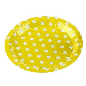 Prato Papel Biodegradável Poa Amarelo - 10 un -  18 cm - Silver Festas