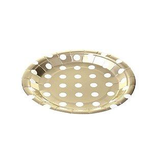 Prato Papel Biodegradável Poa Dourado - 10 un -  18 cm - Silver Festas