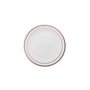 Prato Sobremesa Borda Rose - 6 un - 19 cm - Silver Festas