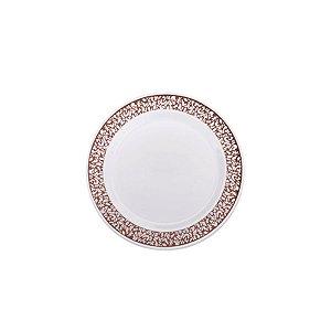 Prato Sobremesa Vazado Borda Rose - 6 un - 19 cm - Silver Festas