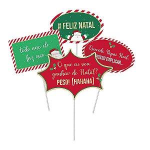 Plaquinhas Divertidas Noite Feliz  - 08 unidades - Cromus Natal - Rizzo Embalagens