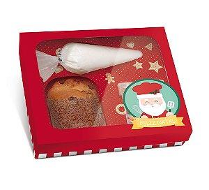 Caixa Panetone Kit Confeiteiro Noel Chef - 20,5x18x8cm - 01 Unidade Cromus Natal - Rizzo Embalagens