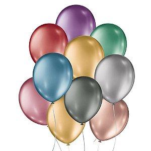 Balão de Festa Metalico - Sortido - 25 Unidades - São Roque - Rizzo Embalagens