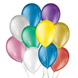 Balão de Festa Cintilante - Sortido - 50 Unidades - São Roque - Rizzo Embalagens