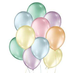 Balão de Festa Látex Perolado - Sortido - 50 Unidades - São Roque - Rizzo Embalagens