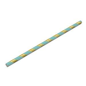 Canudo Biodegradável Listrado Dourado e Azul - 15 un - 20 cm -  Silver Festas