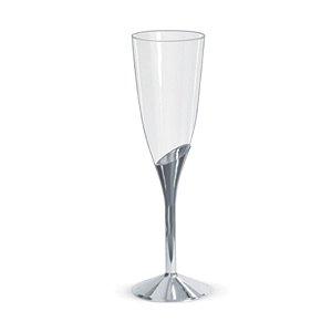 Taça para Champagne Base Prata - 6 un - 135 ml - Silver Festas