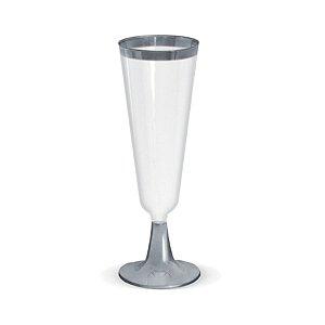 Taça para Champagne Borda Prata - 12 un - 150 ml - Silver Festas
