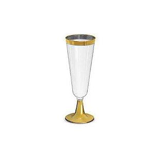 Taça para Champagne Dourada - 4 un - 210 ml - Silver Festas
