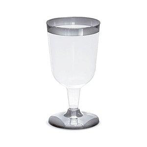 Taça para Vinho Borda Prata - 12 un - 210 ml - Silver Festas