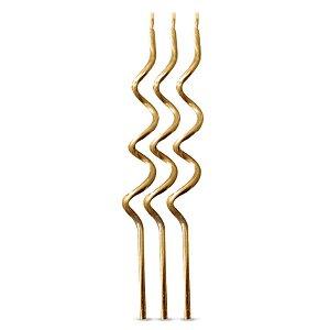 Velas Espiral Dourada - 4 un - Silver Festas