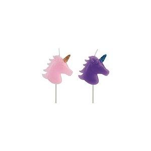 Velas Unicornio Rosa e Roxo - 2 un - Silver Festas
