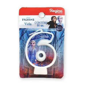 Vela Festa Frozen Número 6 - 01 unidade - Regina - Rizzo Festas
