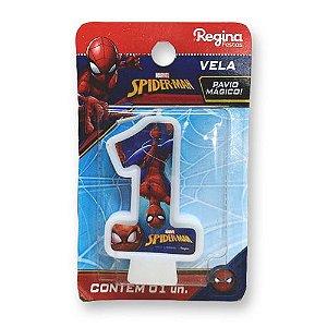 Vela Festa Spider Man Número 1 - 01 unidade - Regina - Rizzo Festas