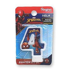 Vela Festa Spider Man Número 4 - 01 unidade - Regina - Rizzo Festas