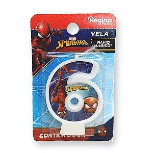 Vela Festa Spider Man Número 6 - 01 unidade - Regina - Rizzo Festas