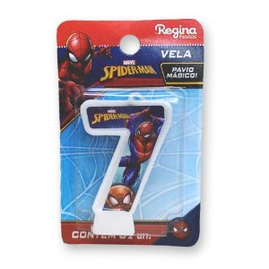 Vela Festa Spider Man Número 7 - 01 unidade - Regina - Rizzo Festas