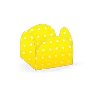 Forminhas para Doces 4 Pétalas Poá Amarelo e Branco - 50 unidades - NC Toys - Rizzo Embalagens