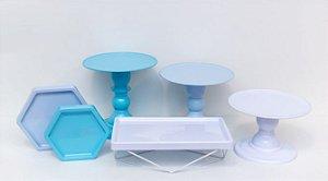 Kit Comemore MAIS - 18 Azul Céu, Tifany e Branco - 01 Unidade - Só Boleiras - Rizzo Festas